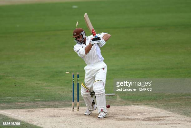 Surrey's Mark Ramprakash is cleaned bowled out by Leicestershire bowler Nathan Buck for 274 runs