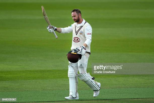 Surrey's Mark Stoneman celebrates his century during day one of the Specsavers County Championship Division One match between Surrey and Yorkshire at...