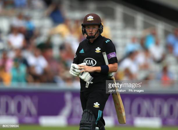 Surrey's Ollie Pope walks off after bein dismissed by Nottinghamshire's Samit Patel during the One Day Cup Final at Lord's London