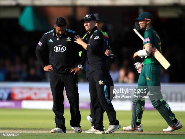 Surrey's Ravi Rampaul and Rory Burns look dejected during the One Day Cup Final at Lord's London