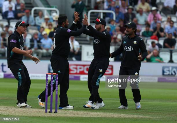 Surrey's Ravi Rampaul celebrates the wicket of Nottinghamshire's Riki Wessels during the Royal London OneDay Final match between Nottinghamshire and...