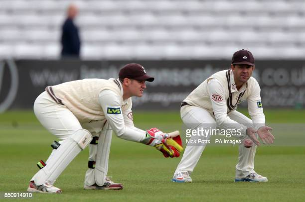 Surrey's Ricky Ponting in the slips watching wicketkeeper Steven Davies during the LV= County Championship Division One match at the County Ground...