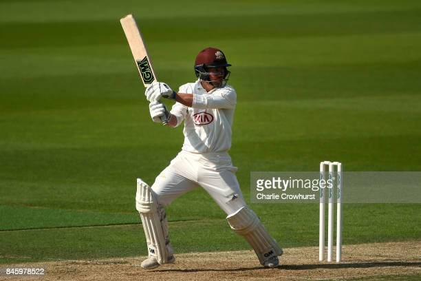 Surrey's Rory Burns hits out during day one of the Specsavers County Championship Division One match between Surrey and Yorkshire at The Kia Oval on...