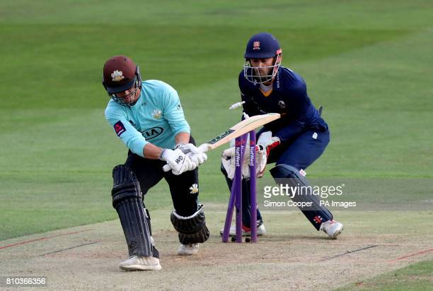 Surrey's Rory Burns is bowled out by Essex's Ashar Zaidi during the NatWest T20 Blast match at the Cloudfm County Ground Chelmsford