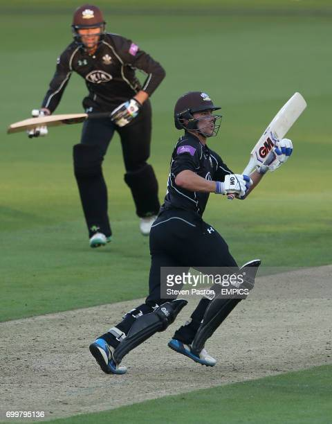 Surrey's Rory Burns making his 50th run during play