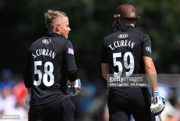 Surrey's Sam Curran and his brother Tom Curran during the Royal London One Day Cup Semi Final match at New Road Worcester