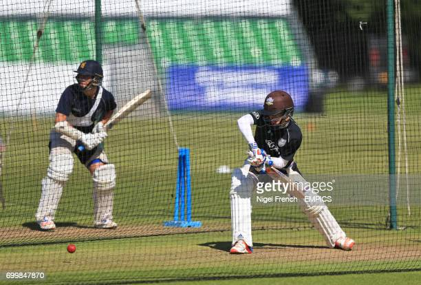 Surrey's Sam Curran batting in the nets during the warmup