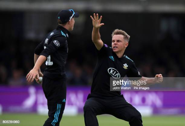 Surrey's Sam Curren celebrates the wicket of Nottinghamshire's Steven Mullaney during the One Day Cup Final at Lord's London