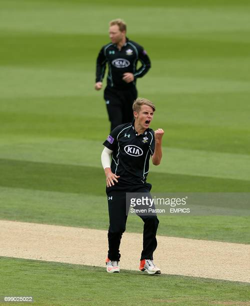 Surrey's Sam Curran celebrates the wicket of Yorkshire's Andrew Gale for LBW