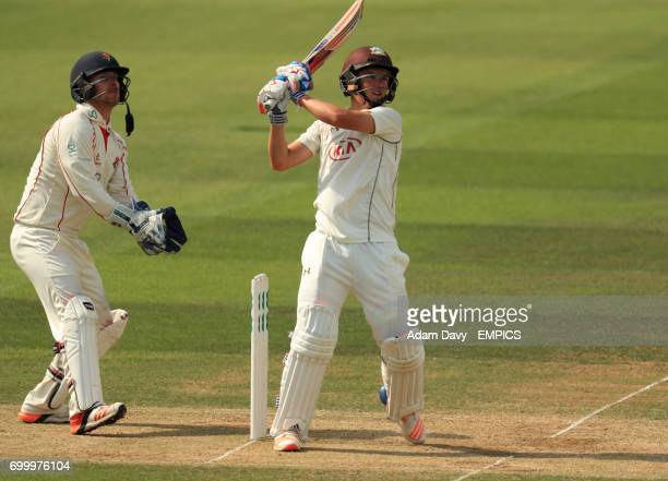 Surrey's Sam Curran hits a six during his innings against Lancashire