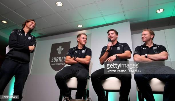 Surrey's Sam Curran Rory Burns and Gareth Batty