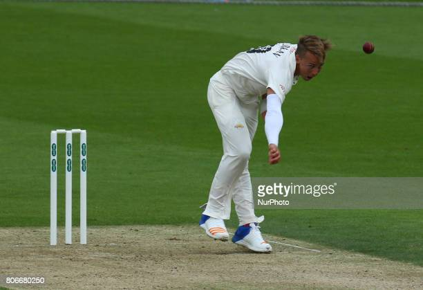 Surrey's Tom Curran during the Specsavers County Championship Division One match between Surrey and Hampshire at The Kia Oval Ground in London on...
