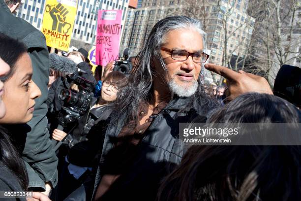 Surrounded by supporters city politicians and media sanctuary movement activist Ravi Ragbir attends an annual meeting with ICE officials on March 9...