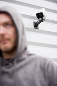 Surveillance Camera And Young Man In Hooded Sweatshirt