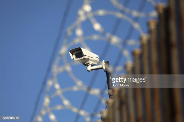 S surveillance camera overlooks the international bridge between Mexico and the United States on March 14 2017 in Hidalgo Texas The Trump...
