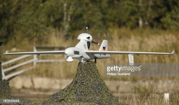 LUNA surveillance drone is seen during the annual military exercises held for the media at the Bergen military training grounds on October 2 2013...