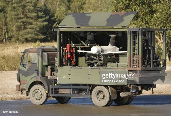 KZO surveillance drone sits in a truck during the annual military exercises held for the media at the Bergen military training grounds on October 2...