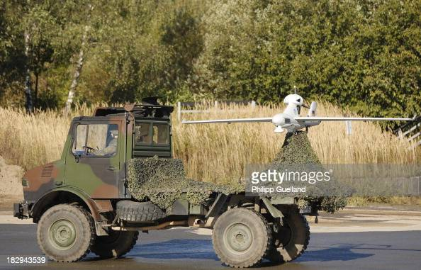 LUNA surveillance drone sits on the back of a truck during the annual military exercises held for the media at the Bergen military training grounds...
