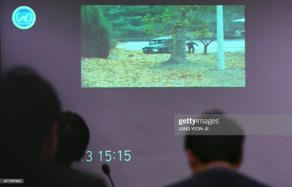 TV surveillance footage of North Korean soldier crossing the border into the South in breach of a 1953 armistice agreement