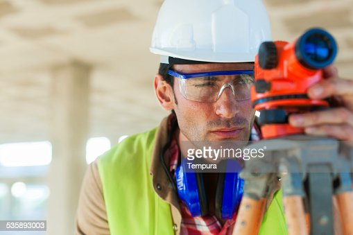 Surveying on the construction site. : Stockfoto
