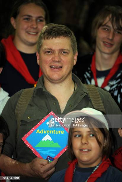 Survival expert Ray Mears is joined by Scouts at Camp Downe in Kent after being awarded his Outdoor Adventure badge Mears then taught the Scouts some...