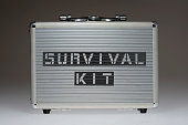metallic box with survival kit phrase stencil print on it side