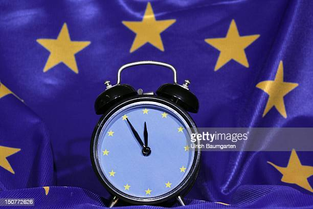 GERMANY BONN 'survival package' of the EU for the financially suffering member states Our picture shows an alarmclock with an EU clock face and the...
