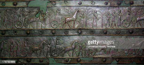 Surviving bronze bands of the Balawat Gates from the palace of Shalmaneser III Iraq Bronze strips embossed with scenes of Shalmaneser's campaigns...