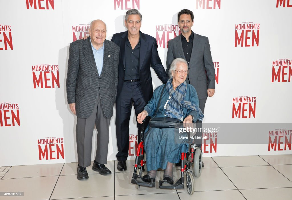 Surviving Monuments Man Harry Ettlinger, <a gi-track='captionPersonalityLinkClicked' href=/galleries/search?phrase=George+Clooney&family=editorial&specificpeople=202529 ng-click='$event.stopPropagation()'>George Clooney</a>, Surviving Monuments Man Anne Olivier Bell and <a gi-track='captionPersonalityLinkClicked' href=/galleries/search?phrase=Grant+Heslov&family=editorial&specificpeople=607201 ng-click='$event.stopPropagation()'>Grant Heslov</a> attend the UK Premiere of 'The Monuments Men' at Odeon Leicester Square on February 11, 2014 in London, England.