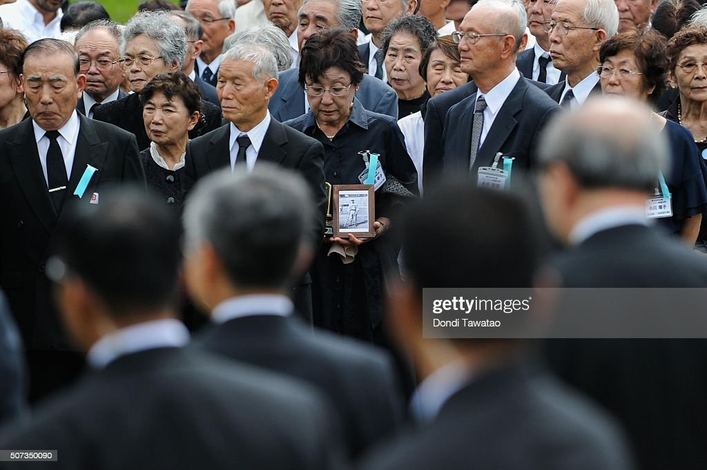 Surviving relatives of Japanese Imperial soldiers of World War II during a solemn ceremony to honor fallen Japanese soldiers of World War II at the Japanese War Memorial Shrine at Caliraya on January 29, 2016 in Laguna, Philippines. The emperor and empress of Japan concludes their five-day state visit to the Philippines on Friday to highlight the 60 years of strong diplomatic ties between the two nations.