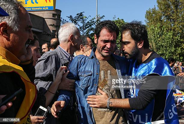 A survivor cries at the blast scene after an explosion during a peace march in Ankara October 10 2015 Turkey Turkish Health Minister says 86 people...