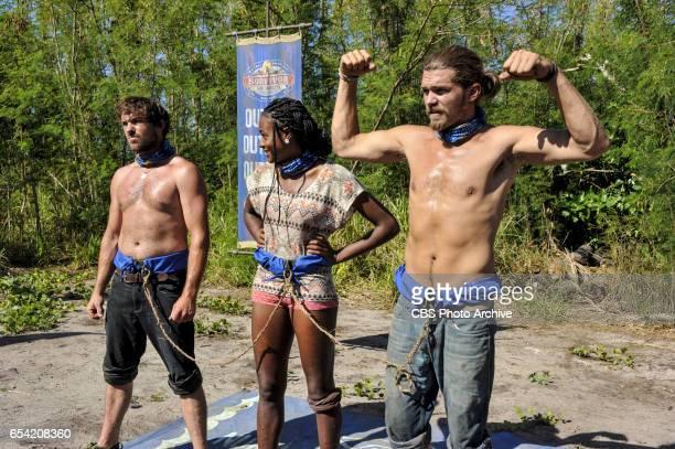 'Survivor Jackpot' James 'JT' Thomas Michaela Bradshaw and Malcolm Freberg on the third episode of SURVIVOR Game Changers airing Wednesday March 15...