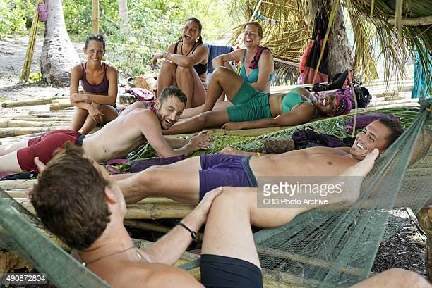 'Survivor MacGyver' Ciera Eastin Andrew Savage Stephen Fishbach Kimmi Kappenberg Kass McQuillen Tasha Fox and Joe Anglim during the second episode of...