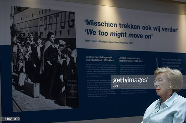survivor of the holocaust and stepdaughter of Otto Frank the father of Anne Frank Eva SchlossGeiringer looks on at the opening of the new exhibition...