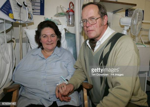 Survivor of the train crash Mrs Trica Cavill in Royal Berkshire Hospital Reading with her husband Norman