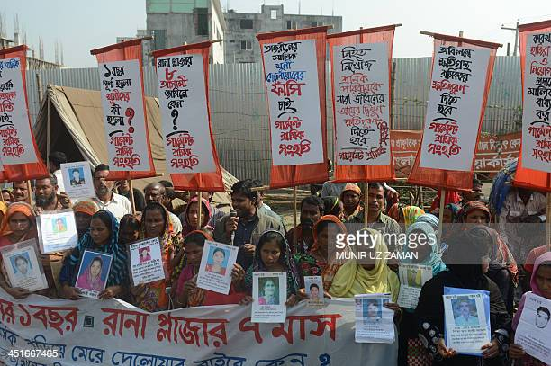 Survivors and relatives of Bangladeshi garment workers killed in the Tazreen Fashions fire accident and Rana Plaza garment factory building collapse...