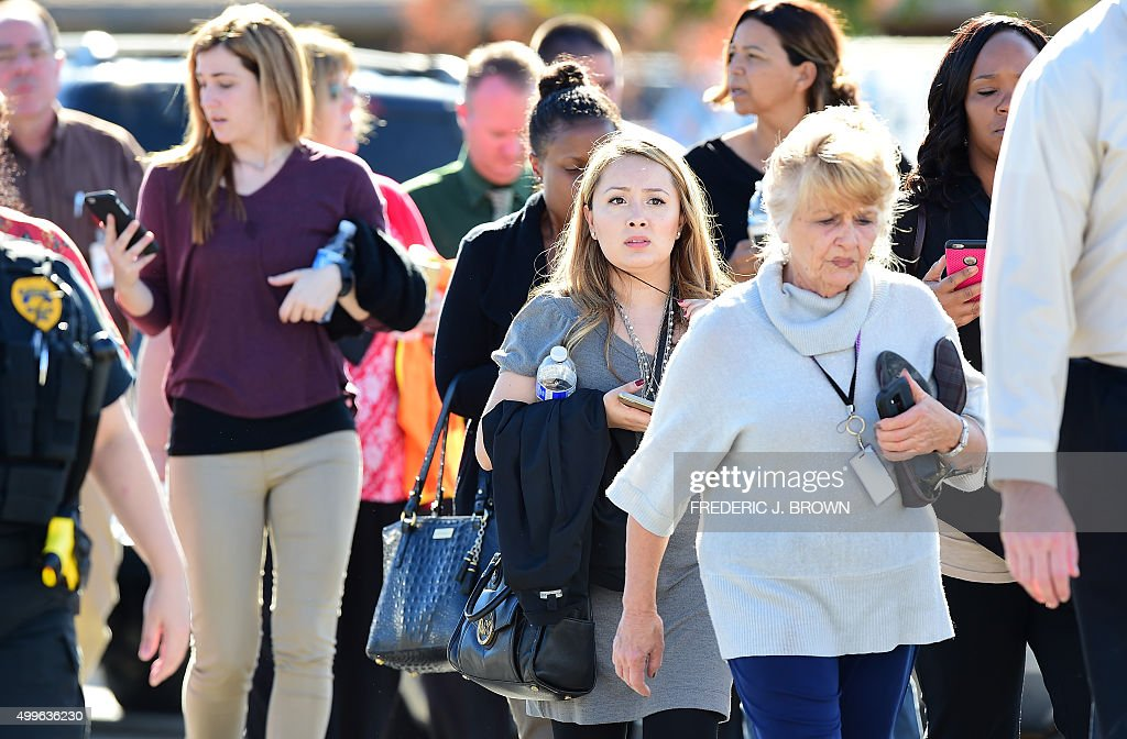 Survivors are evacuated from the scene of a shooting on December 2 2015 in San Bernardino California One or more gunman opened fire inside a building...