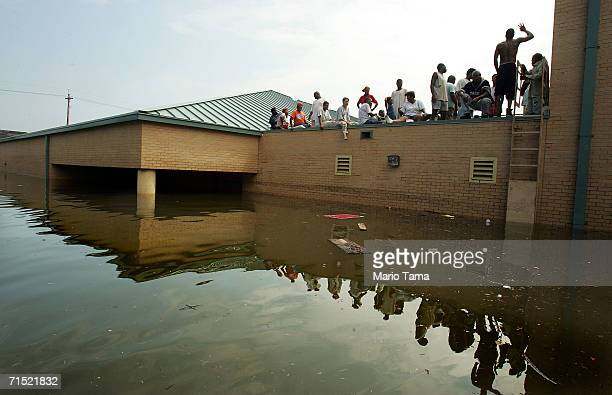 Survivors from the Lower Ninth Ward wait to be rescued from the rooftop of the Martin Luther King Jr School and Library one of the only twostory...