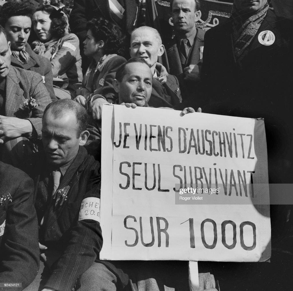 Survivors of Auschwitz concentration camp. Paris, May 1st, 1945.