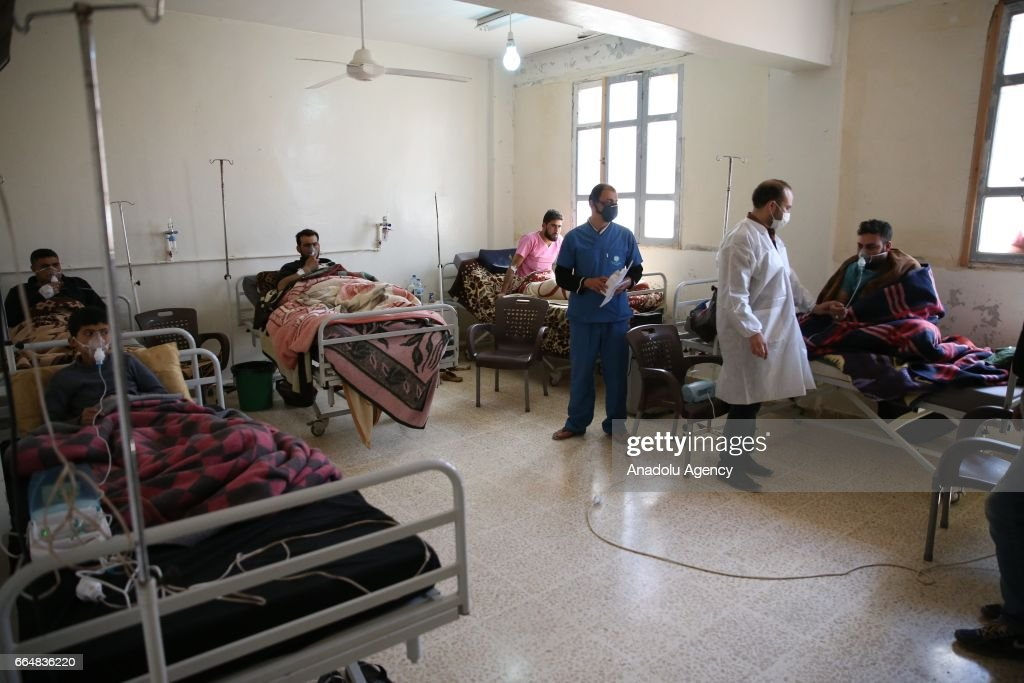 Survivors of the Assad regime's suspected chemical attack in Khan Shaykhun town of Idlib district, receive treatment at an hospital in Idlib, Syria on April 05, 2017.