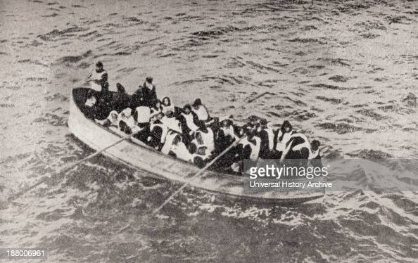 Survivors Of The Rms Titanic In One Of Her Collapsible Lifeboats Just Before Being Picked Up By The Carpathia Woman Are Sharing In The Rowing
