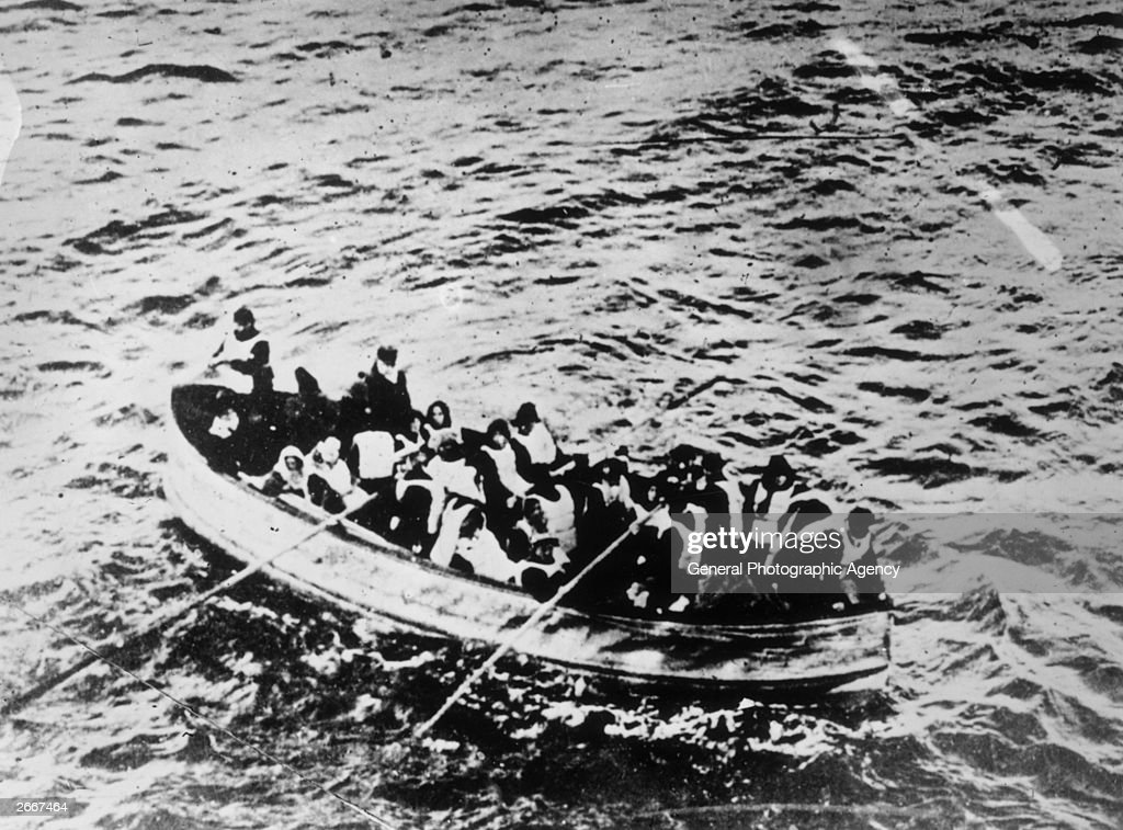 Survivors of the 'Titanic' disaster in a crowded lifeboat