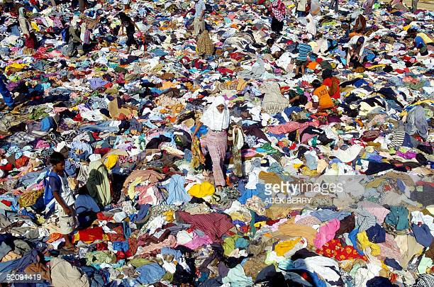 Survivors of the tsunami disaster select used clothings in Calang Aceh Jaya 01 February 2005 Indonesian said Monday it would use computers to...