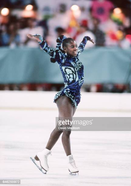 Surya Bonaly of France competes in the Ladies' Figure Skating Singles event of the 1990 Goodwill Games held from July 20 August 5 1990 at the Tacoma...