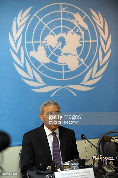 Surya Subedi UN special rapporteur on the situation of Human Rights in Cambodia speaks to the media during a press conference in Phnom Penh on...