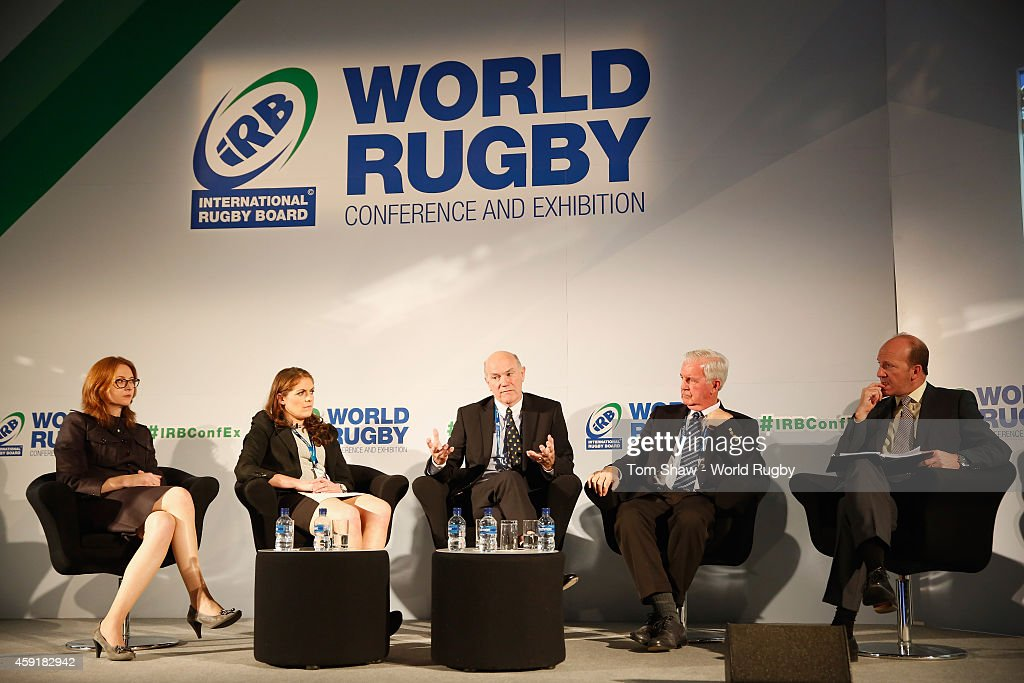 Susan Ahern of the iRB, Fiona Coughlan of Ireland, Ronnie Flanagan of the ICC and Craig Reedie of WADA during the Integrity session during day 2 of the iRB World Rugby Exhibition & Conference at the Hilton Metropole Hotel on November 18, 2014 in London, England.