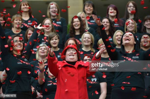 Susan Boyle and the Scottish Military Wives choir launch the Poppy Scotland appeal on October 24 2012 in GlasgowScotland Susan Boyle joined members...