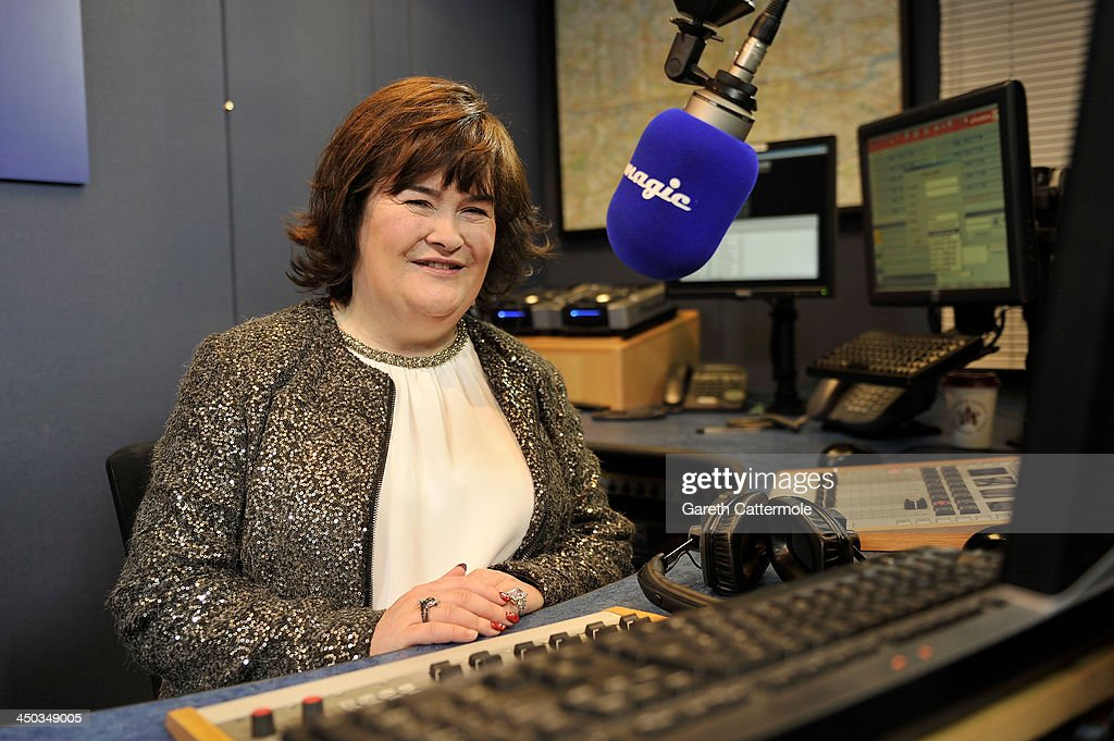 <a gi-track='captionPersonalityLinkClicked' href=/galleries/search?phrase=Susan+Boyle&family=editorial&specificpeople=5810021 ng-click='$event.stopPropagation()'>Susan Boyle</a> at Magic FM studios recording her Magic FM Christmas Special with Neil Fox on November 12, 2013 in London, England.