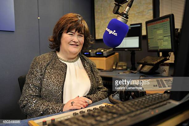 Susan Boyle at Magic FM studios recording her Magic FM Christmas Special with Neil Fox on November 12 2013 in London England