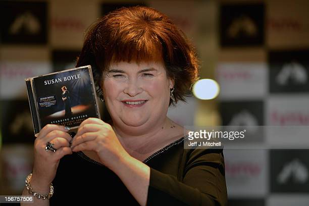 Susan Boyle attends an album signing at HMV on November 20 2012 in Glasgow Dozens of fans queued to get signed copies of her new album titled...